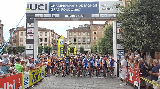 29ab5742a The start of the 2017 UCI Gran Fondo World Championships in Albi France.  Credit  UCI GF WC